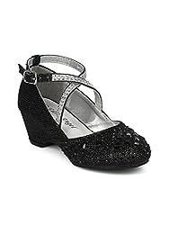 Glitter & Rhinestone Embellished Cross Strap Kiddie Heel