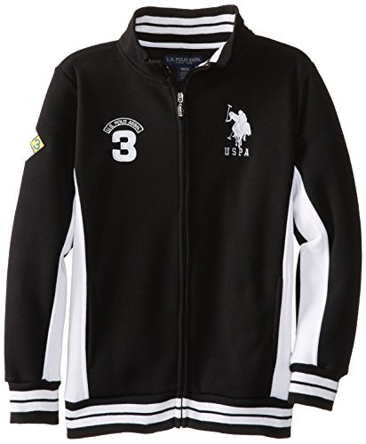 Price comparison product image U.S. Polo Assn. Big Boys' Fleece Mock Neck Jacket with Striped Ribbing, Black, 10/12
