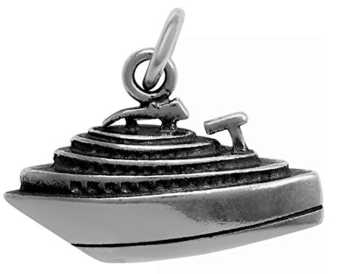 Sterling Silver Antiqued 3D Cruise Ship Charm Pendant (18 x 12 mm)