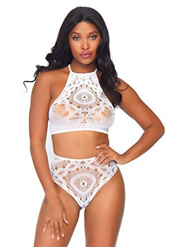 (Leg Avenue Women's Lingerie 2 Pc Crochet Lace Halter Crop Top, White, Small/Medium)
