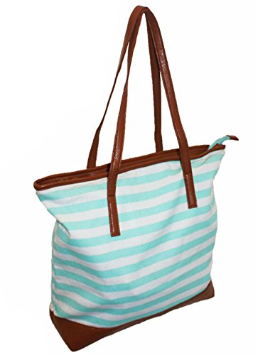 Oversized Useable Stripe Gym Large Green Ladies Shopper Maternity Re Holdall Beach Bag Canvas Overnight Holiday Travel Mint EBSwwqxI4