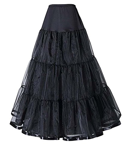 V.C.Formark Tulle Skirt Floor-Length Retro 50' Half Slip A-line Petticoat for Women Cocktail Swing (Floor Length A-line Skirt)