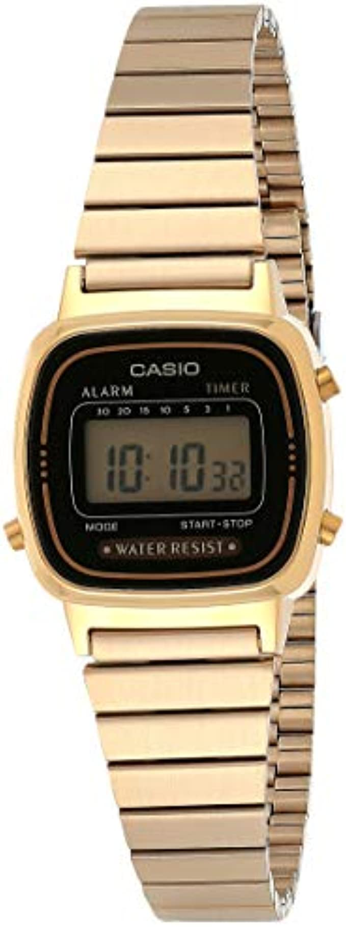 Casio Women's Vintage LA670WGA-1DF Daily Alarm Digital Gold-tone Watch