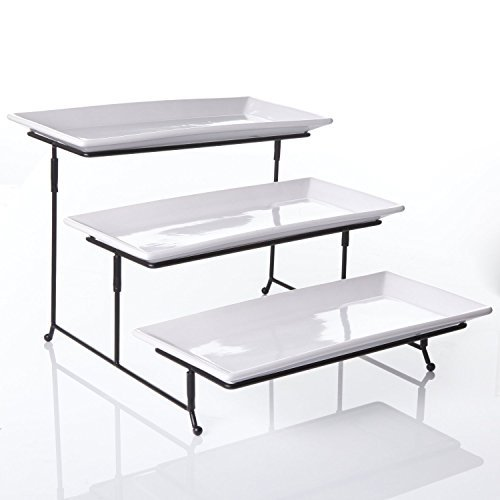 3 Tier Rectangular Serving Platter, Three Tiered Cake Tray Stand, Food Server Display Plate Rack, White by Gibson