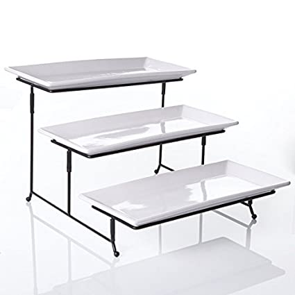 Buy 3 Tier Rectangular Serving Platter Three Tiered Cake Tray Stand Food Server Display Plate Rack White Online At Low Prices In India Amazon In