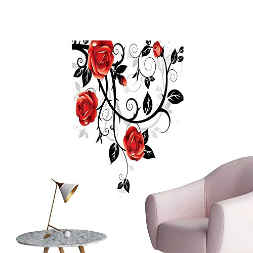 Wall Decals Ornate Swirl Branch ROS Gothic Grunge Style European Work Red Black Environmental Protection Vinyl,32