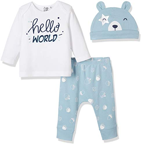 Silly Apples Baby Unisex Cotton Blend 3-Piece Long-Sleeve T-Shirt, Pant and Hat Outfit Gift Set (6M) Blue ()