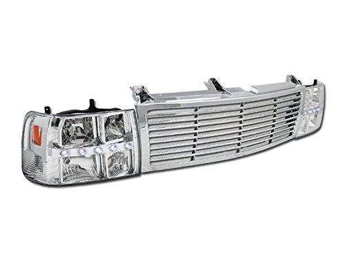 CHROME DRL LED HEAD LIGHTS CORNER LAMPS+BUMPER GRILL GRILLE 99-06 SILVERADO SUV
