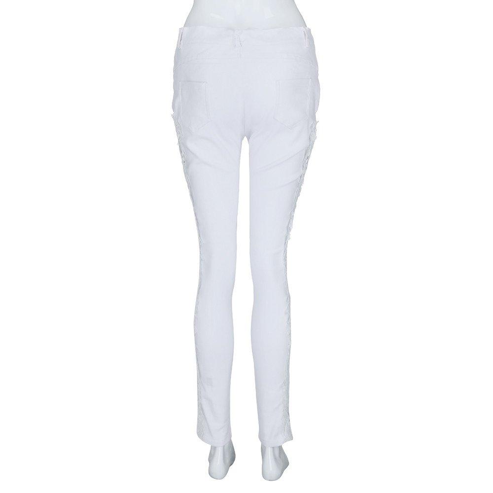 Women Casual Flower Lace Insert Low Waist Jeans Hollow Out Long Pants