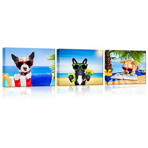 Hello Artwork 3 Pieces Animals Canvas Wall Art Chihuahua Dog Reading Book Terrier Dog with Sunglasses French Bulldog Enjoying Cocktail Funny Puppy Relaxing On Summer Beach Painting On Canvas Wall ()