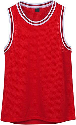 Angel Cola Men's Blank Plain Mesh Tank Top Basketball Jersey Red - Mesh Top Tank Practice