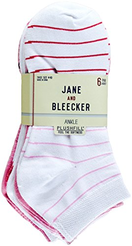 Jane and Bleecker Women's Ankle Socks 6 Pairs (Pink)