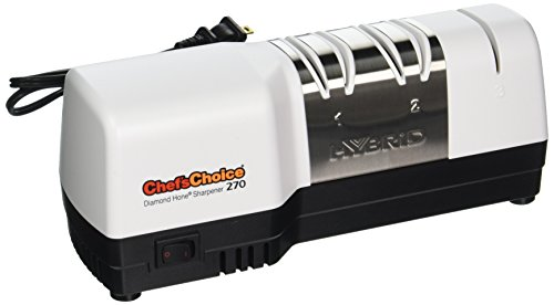 Chef'sChoice 270 Hybrid Diamond Hone Knife Sharpener Combines Electric and Manual Sharpening for Straight and Serrated 20-Degree Knives Made in USA, 3-Stage, White