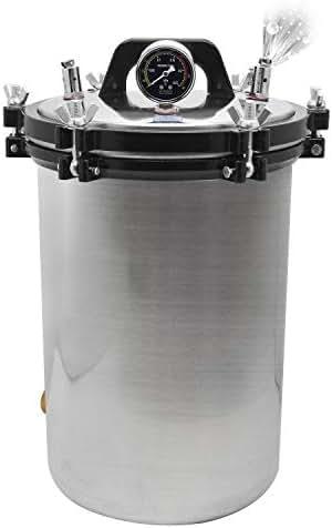 CGOLDENWALL Autoclave Steam Sterilizer Stainless Steel Electric Heated Autoclave Sterilizer Unit High Pressure Sterilizer Sterilization Pot 70-106kpa (Capacity: 24L)