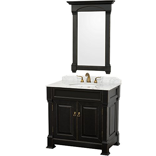ndover 36 inch Single Bathroom Vanity in Antique Black, White Carrera Marble Countertop, White Undermount Round Sink, and 28 inch Mirror ()