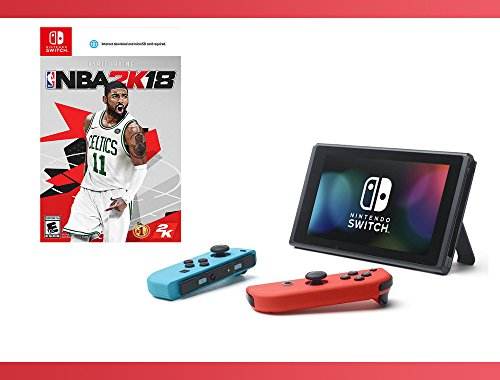 Nintendo Switch - Neon Blue and Red Joy-Con + NBA 2K18 Nintendo Switch + Switch Travel Pack Bundle ( 3 - Items )