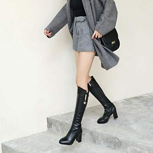 Chaussures Simple Femmes Avec Black Talon Fermeture Taoffen Éclair 5qwn6S0