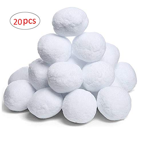 CyberDyer Toy Snowballs for Indoor or Outdoor Play - Safe, No Slush, No Mess - Snowballs Fun for Kids & Adults Anytime - 20 Pack (Small Size Snowball)
