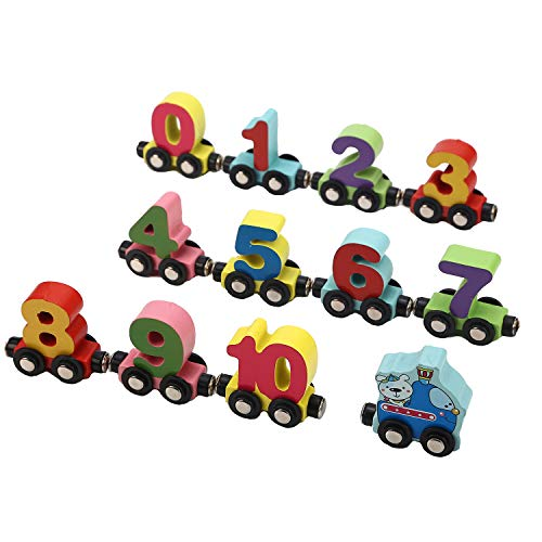 Jamohom Wooden Digital Train with Numbers 0-9 Magnetic Railway Set Educational Toys for Kids from Jamohom