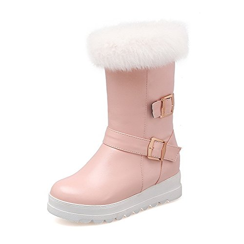 Allhqfashion Women's Low-top Pull-on Soft Material Kitten-Heels Round Closed Toe Boots Pink