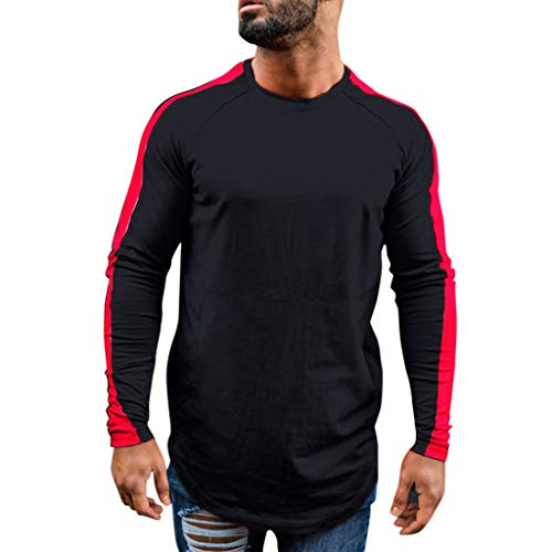 TANGSen Fashion Men's Autumn Long Sleeve Casual Top Solid Fit Patchwork Round Collar Top Blouse Wine