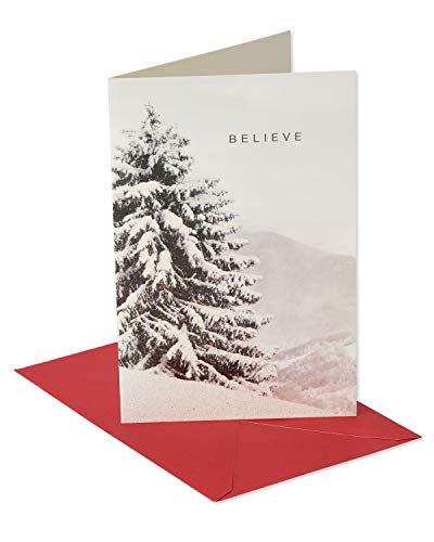 Believe Card - American Greetings Elegant Tree Photo Christmas Cards Boxed with Red Envelopes, 14-Count