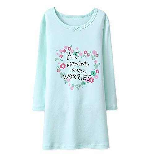 BLOMDE Toddler Girls' Flower Pringting Nightgowns Floral Cotton Gowns Green for 9-10 Years