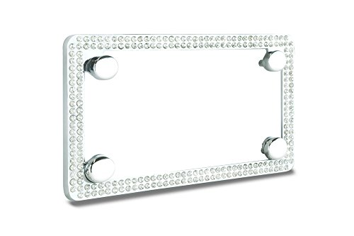 Premium Shinning Crystal Motorcycle License Plate Frame with Cap ()