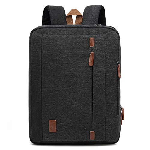 CoolBELL 15.6 Inches Convertible Laptop Messenger Bag Shoulder Bag Canvas Backpack Oxford Cloth Multi-Functional Briefcase for Laptop/MacBook/Tablet (Canvas Black)
