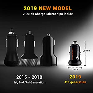 2019 Metal Qualcomm Quick Charge 3.0 Car Charger by HUSSELL – 36W/6A Dual USB Ports QC 3.0 Car Charger Adapter – Smallest Case – NO Risk of Fire and Melting – Compatible with Any iPhone/Galaxy etc.