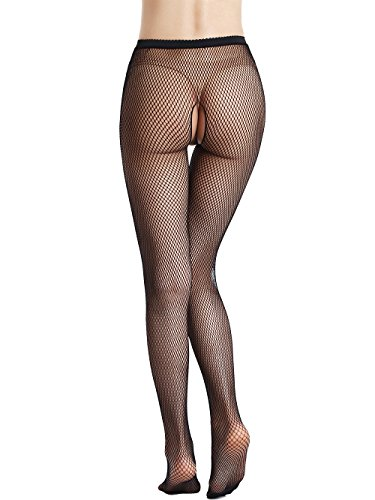 Florboom Womens Fishnet Tights Crotchless Stocking Net Pantyhose High Waist