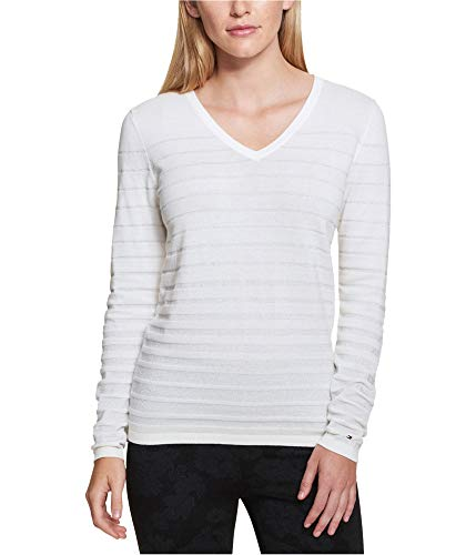 (Tommy Hilfiger Womens Knit V-Neck Pullover Sweater Ivory XL)