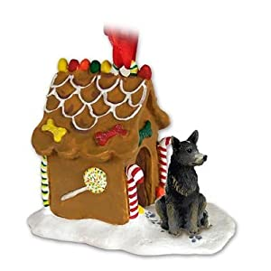 Blue Heeler AUSTRALIAN CATTLE Dog NEW Resin GINGERBREAD HOUSE Christmas Ornament 87B 6