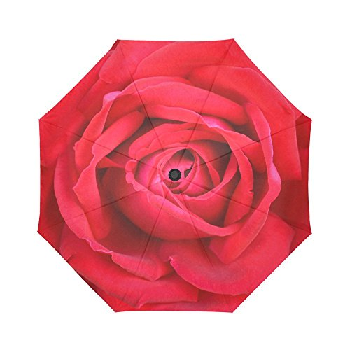 InterestPrint Beautiful Romantic Rose Windproof Automatic Open And Close Folding Umbrella,Girly Flower Travel Lightweight Outdoor Umbrella Rain And Sun,Red by InterestPrint (Image #1)