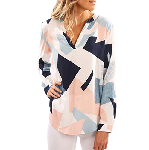 Pop Lover Womens Casual Floral Printed Blouses Geometric Pattern Fashion Tops Colorful Us 10 12