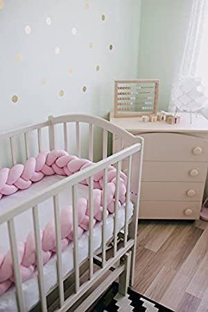 Infant Soft Pad Braided Crib Bumper Knot Pillow Cushion Cradle Decor for Baby Girl and Boy White, 118
