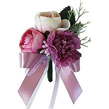 Fenteer Elegant Corsage Tea Rose Carnation Flower Boutonniere Pin Wedding Ceremony Decor - Pinkish Purple, as described