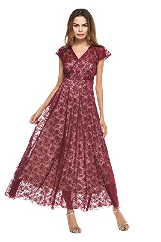 Selenaly Women's V Neck Long Formal Cocktail Swing Lace Dress( Burgundy Small)