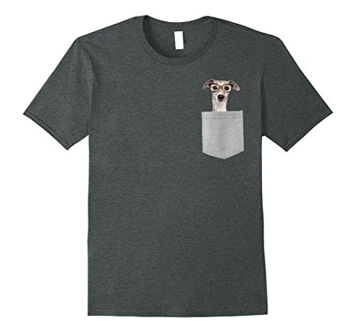 Mens Dog in Your Pocket Greyhound with glasses on t shirt shirt Medium Dark Heather