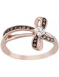 10K Rose Gold Brandy Diamond Chocolate Brown Cross Ribbon Design Ring 1/5 Ctw.
