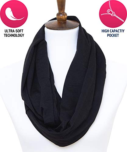 Infinity Scarf With Zipper Pocket By Lycheetini For Fashion Women (Black)