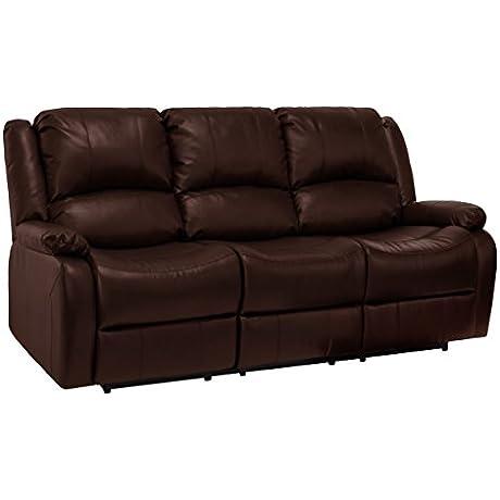 RecPro Charles 80 Triple RV Zero Wall Hugger Recliner Sofa W Drop Down Console Mahogany