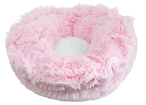 BESSIE AND BARNIE Ultra Plush Bubble Gum/Snow White (Patch) Luxury Shag Deluxe Dog/Pet Lily Pod Bed ()