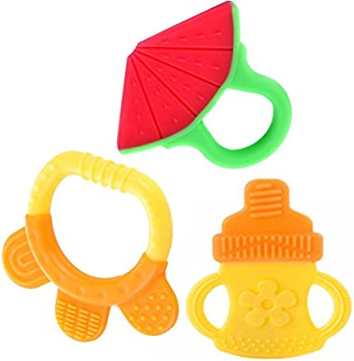 Mordedor bebes Baby Teething Toys Juguetes de dentici/ón para beb/és conjunto de mordedores de silicona natural de silicona suave