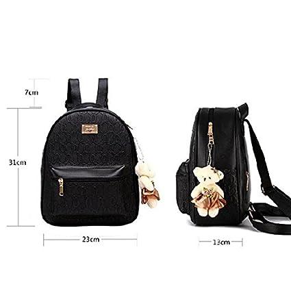 Diseñado Moda Mujer Mochila Mochila escolar de cuero estilo casual mochilas + pequeñas bolsas: Amazon.es: Equipaje