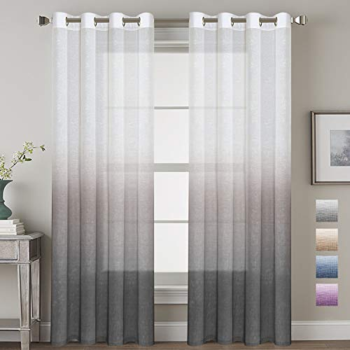 H.VERSAILTEX Ombre Linen Sheer Curtains Light Filtering Privacy Protecting Panels Premium Soft Rich Material Drapes with Grommet Top, Bonus Tie-Backs, 2-Pack Gray, 52 Wide x 96 inch Long
