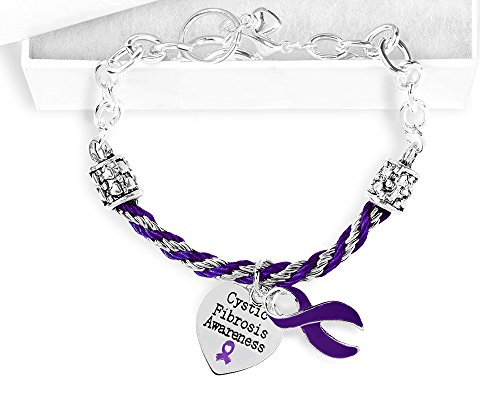 Fundraising For A Cause Cystic Fibrosis Awareness Purple Ribbon Partial Rope Charm Bracelet in a Gift Box (1 Bracelet - Retail)