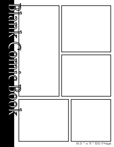 - Blank Comic Book Pages-Blank Comic Strips-5 Panels, 8.5
