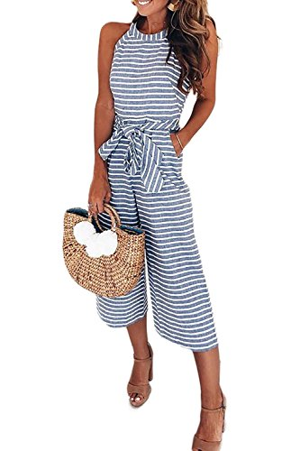 (Alelly Women's Summer Jumpsuits Striped Tie Back Sleeveless Backless Wide Long Pants Rompers)