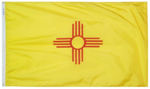 Annin Flagmakers Model 143760 New Mexico State Flag 3x5 ft. Nylon SolarGuard Nyl-Glo 100% Made in USA to Official State Design Specifications.